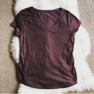 LOFT Tops - LOFT Eggplant Sequin & Cotton Large Top